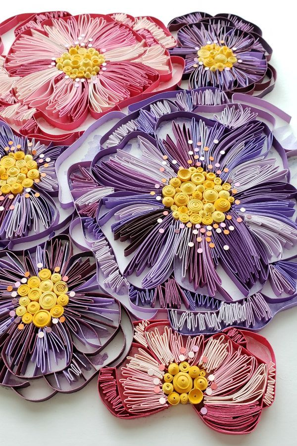 pink and purple on-edge floral paper art