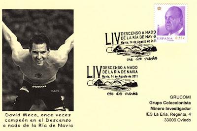 Tarjeta del 49 Descenso a nado de la ría de Navia.