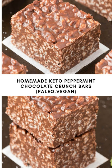HOMEMADE KETO PEPPERMINT CHOCOLATE CRUNCH BARS (PALEO, VEGAN)