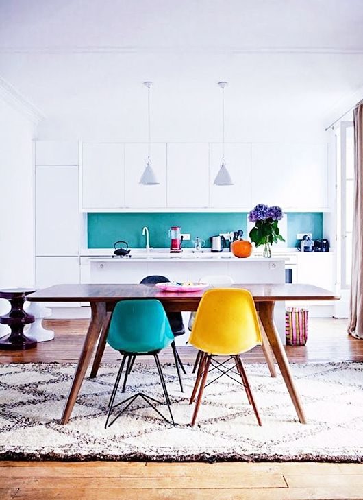 Teal + yellow kitchen chairs