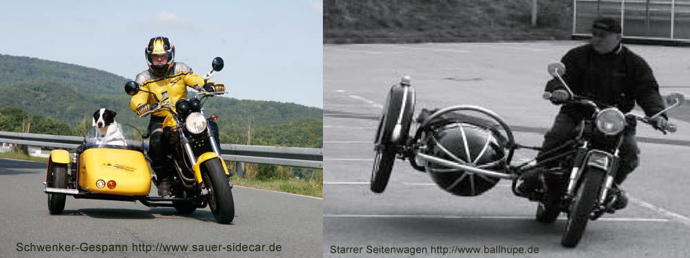 Beim Schwenkergespann bleibt das Fahrgefühl des Solomotorrad erhalten.