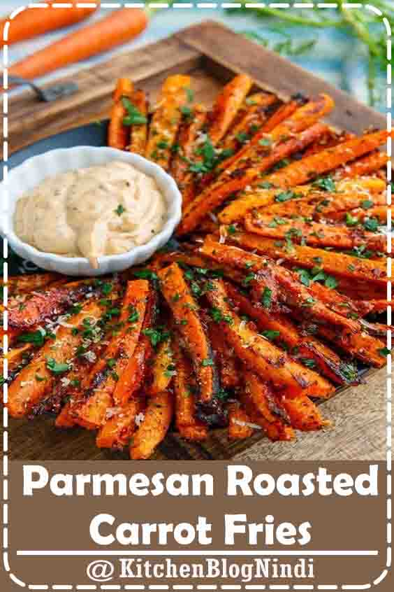 4.9★★★★★ | Sweet roasted carrot fries covered with crispy parmesan cheese! #Parmesan #Roasted #CarrotFries