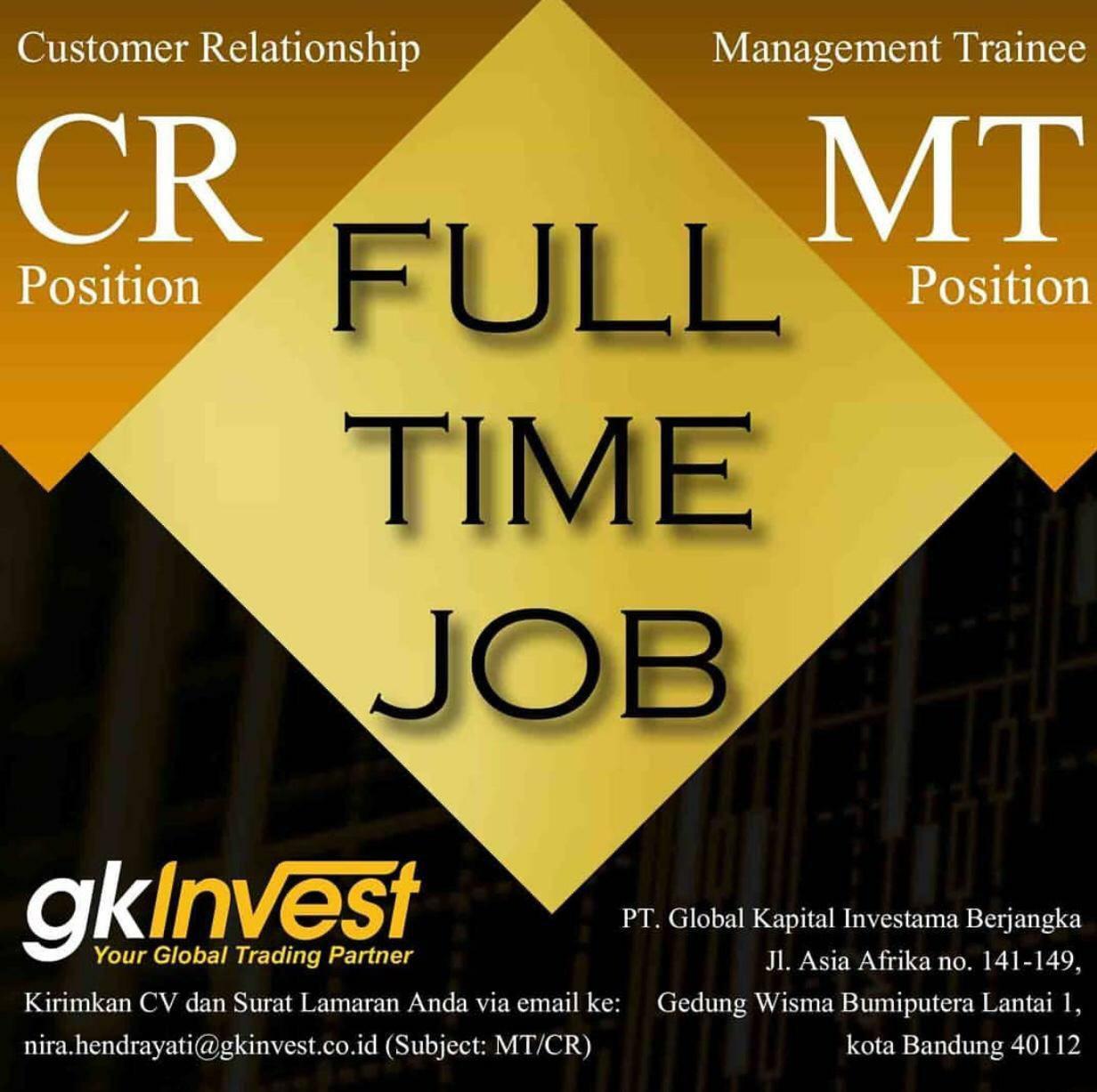 Lowongan Kerja PT Global Kapital Investama ( GK Invest ) Bandung Juli 2019