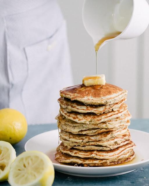 Lemon Poppy Seed Oatmeal Pancakes (Gluten Free)