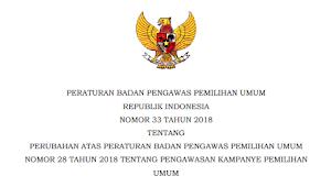Download PERBAWASLU RI Nomor 33 Tahun 2018