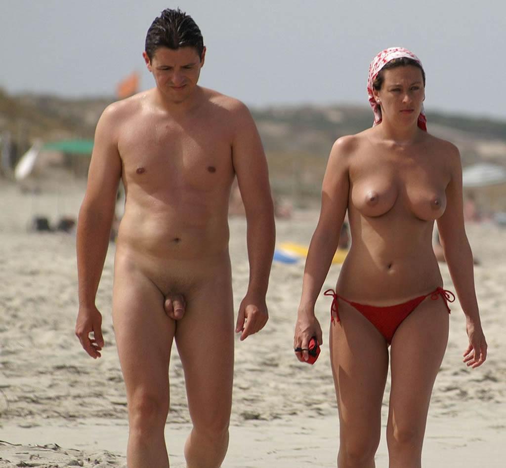 Wife nude walking on beach