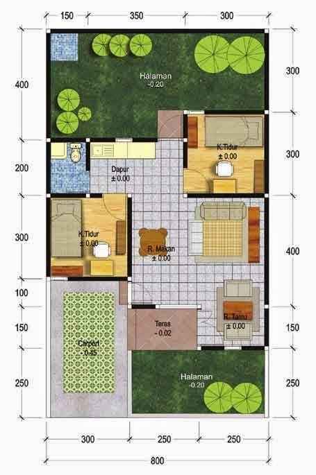 contoh gambar denah rumah type 45 2