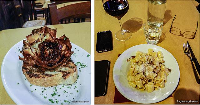 Pratos típicos de Roma: Carciofo alla giudia e pasta alla gricia