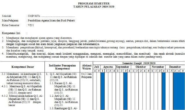 Program Semester PAI Kurikulum 2013 Kelas 7 SMP/MTs Semester 1 Tahun 2019/2020 - Mutu SMPN