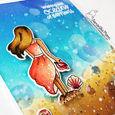 Oceans of Happiness Card by Samantha Mann for Newton's Nook Designs, Distress Inks, Ink Blending, handmade cards, Card Making, beach, #newtonsnook #newtonsnookdesigns #distressinks #inkblending #cardmaking #handmadecards