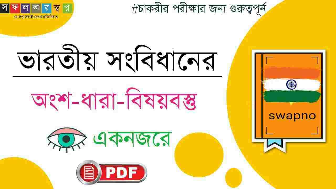 ভারতীয় সংবিধানের অংশ-ধারা-বিষয়বস্তু PDF-Indian Constitution Part/Article/Contents in Bengali