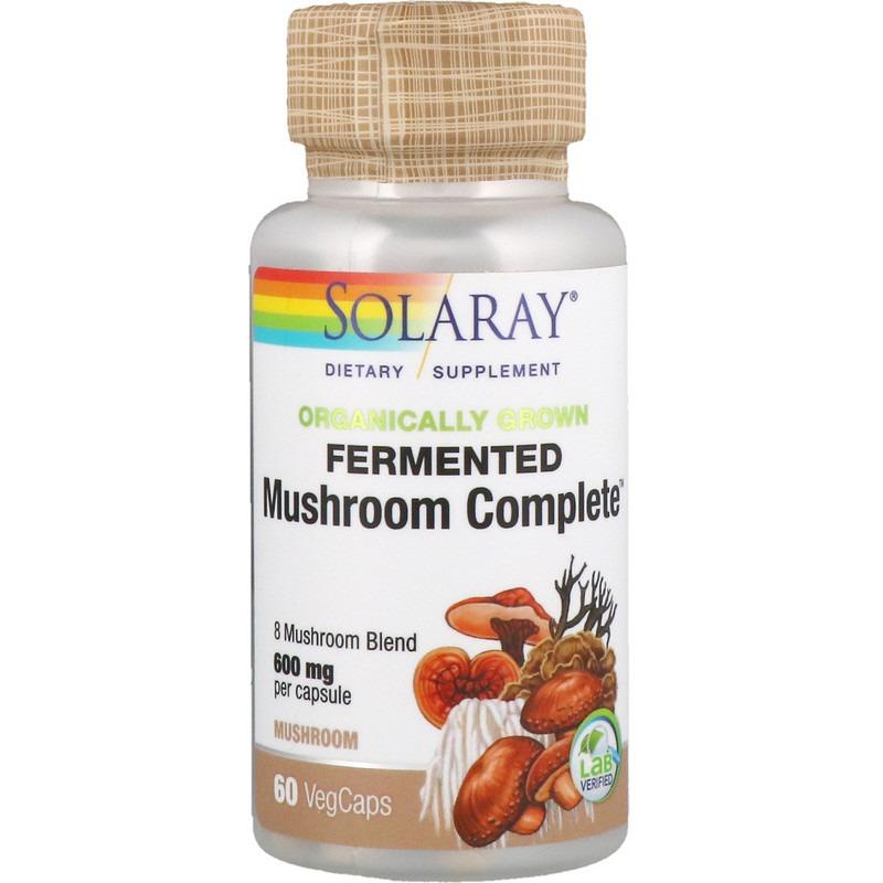 Solaray, Ферментированный комплекс органического происхождения Mushroom Complete, 600 мг, 60 капсул с растительной оболочкой
