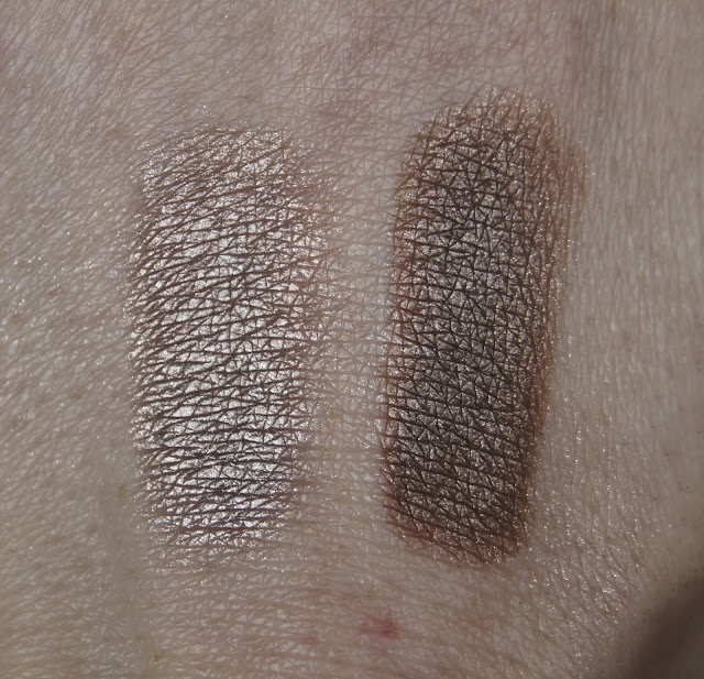 Loreal Chrome Shine Eyeshadows Golden Rose & Brown Lame Swatches