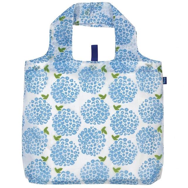 Hydrangea Blu reusable shopping bag