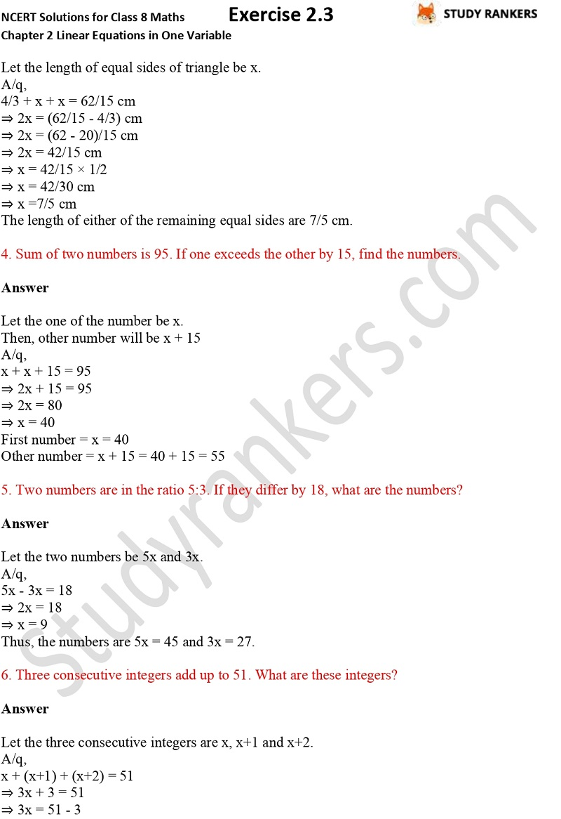 NCERT Solutions for Class 8 Maths Chapter 2 Linear Equations in One Variable Exercise 2.3 Part 2