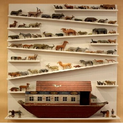 unique wooden quite a zoo wall shelf idea