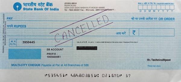 कैंसिल चेक क्या हैं कैसे बनाएं? Cancelled Cheque Meaning in Hindi