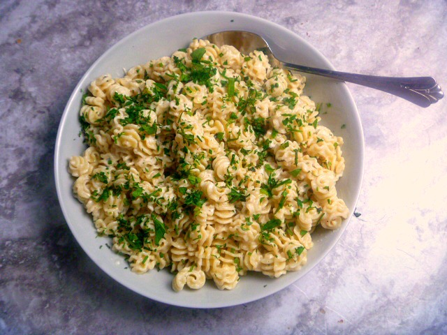 Radiatore with Fresh Herbs and Goat Cheese:  A delicate pasta combined with a decadent white cheese sauce and topped with the best mixture of fresh herbs makes a wonderful Spring meal.  - Slice of Southern