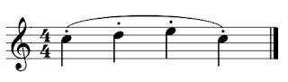 4 figuras negras con staccatos con una ligadura sobre ellas