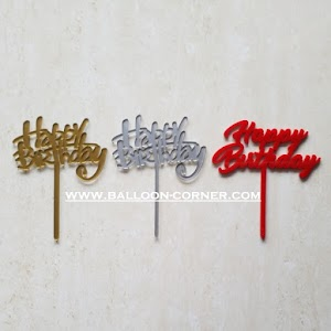 Cake Topper Acrylic HAPPY BIRTHDAY (Tebal 2 mm)