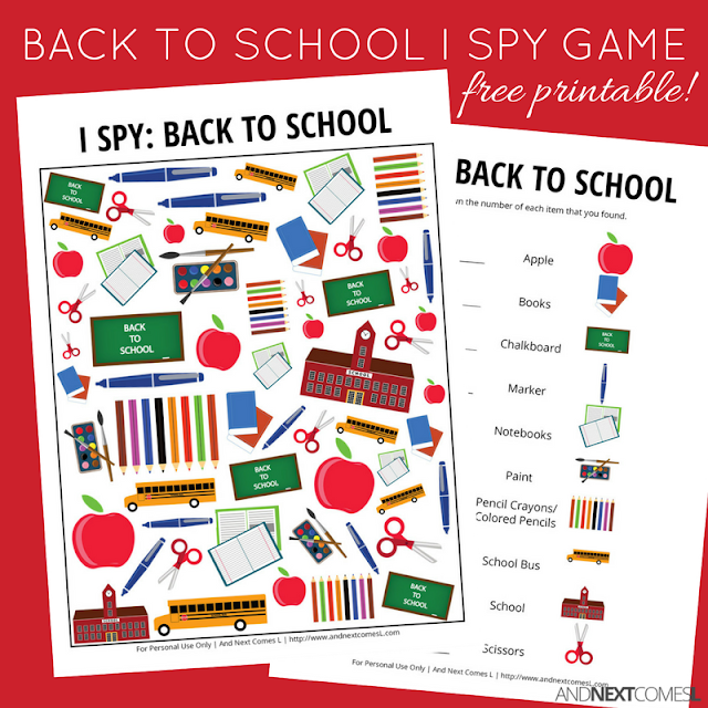 Free back to school themed I Spy game for kids from And Next Comes L