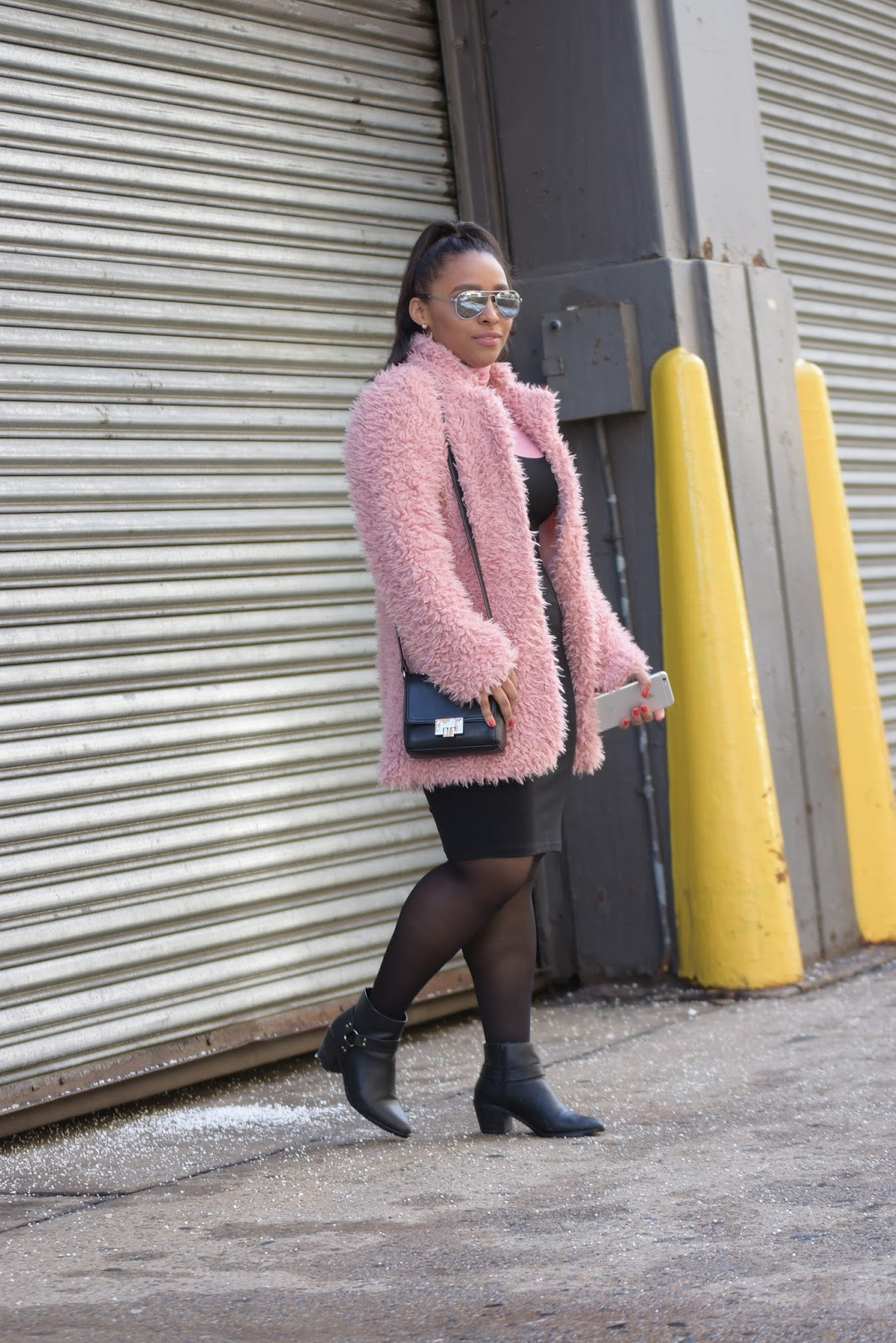 nyfw, fashion week, pink coat, faux fur, pink faux fur coat, Dan Liu, nyfw 2017
