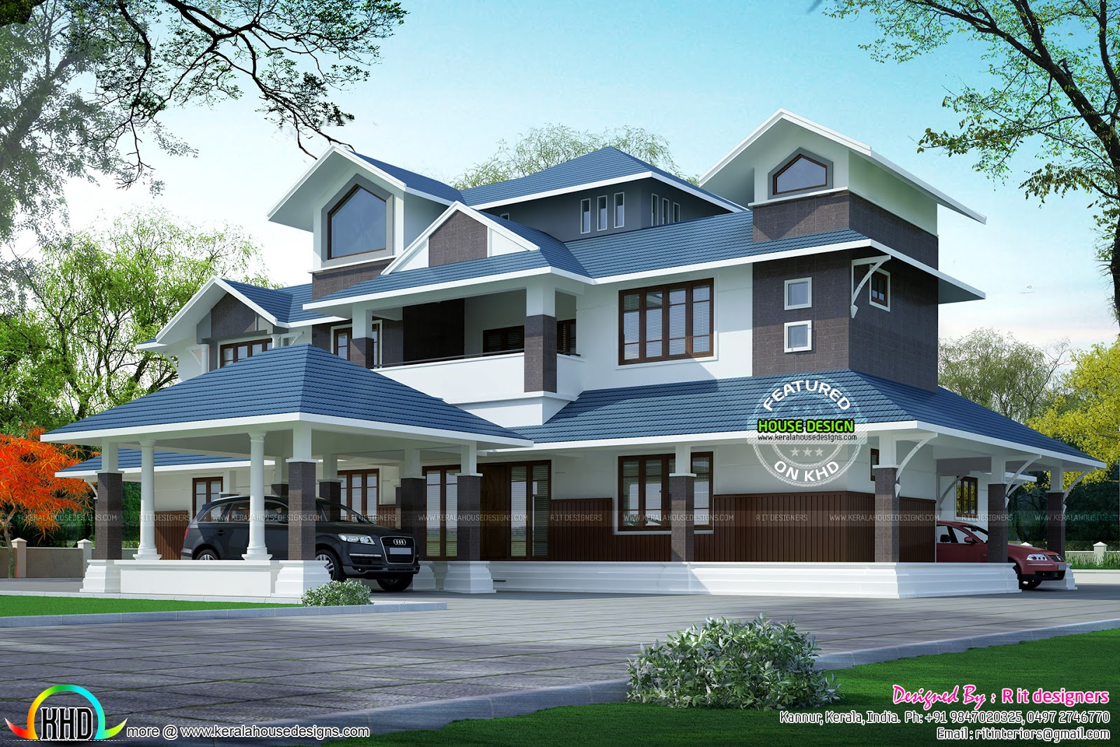 Sloped roof house plans in india for Roof floor