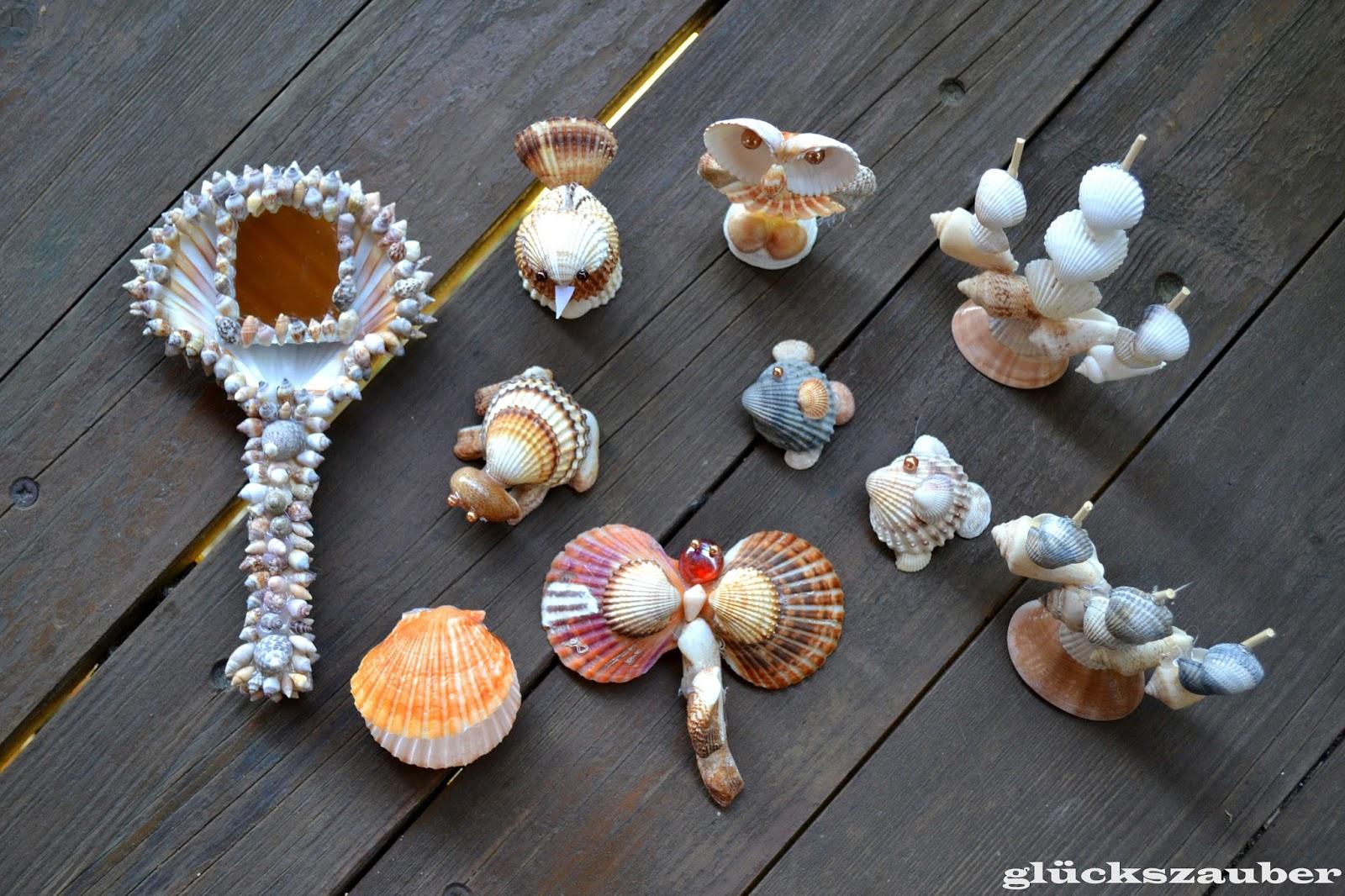 gl ckszauber diy allerlei tiere segelschiffe und handspiegel aus muscheln. Black Bedroom Furniture Sets. Home Design Ideas
