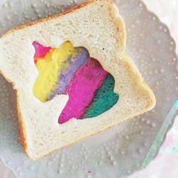 unicorn cut out rainbow sandwich DIY