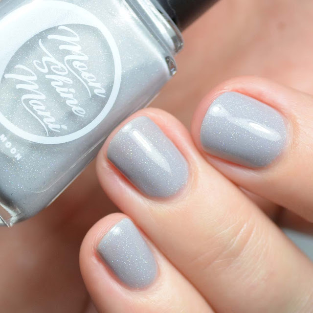 light grey nail polish with holographic shimmer