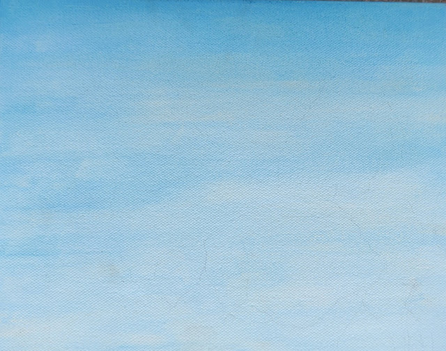 Canvas painting with shades of sky blue