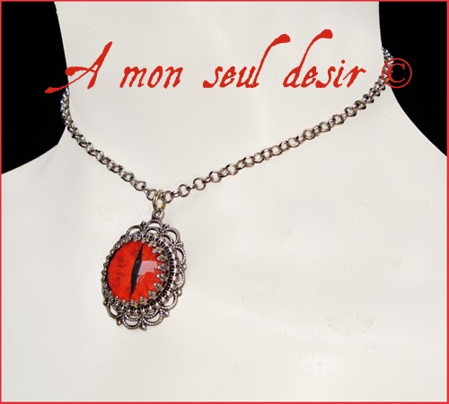 Parure collier boucles d'oreilles oeil yeux dragon serpent rouge bijoux red snake eyes jewelry set necklace earrings