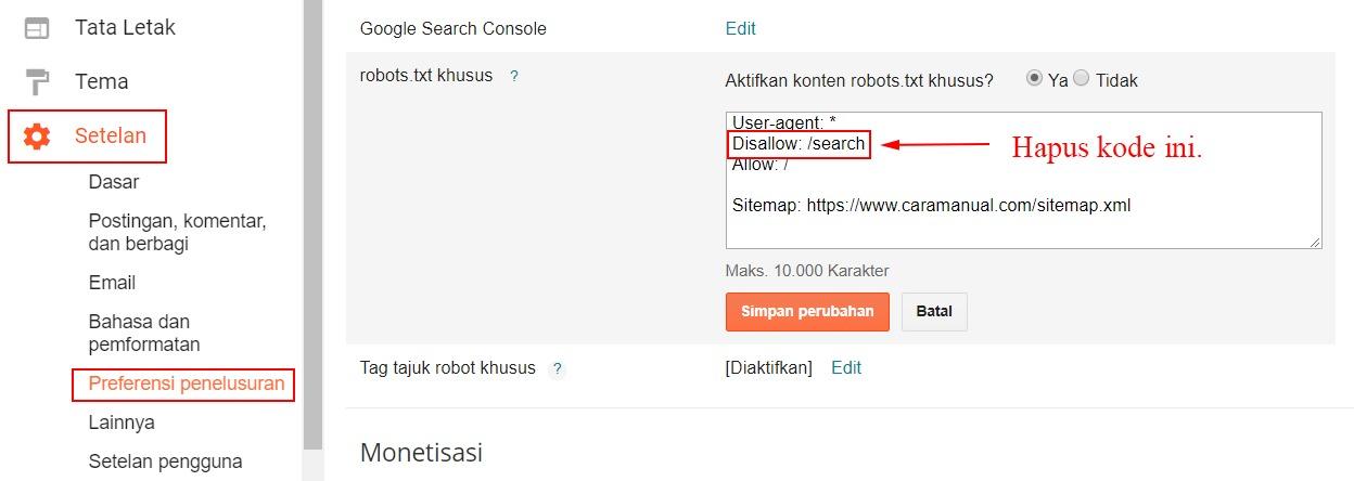 Robots txt khusus