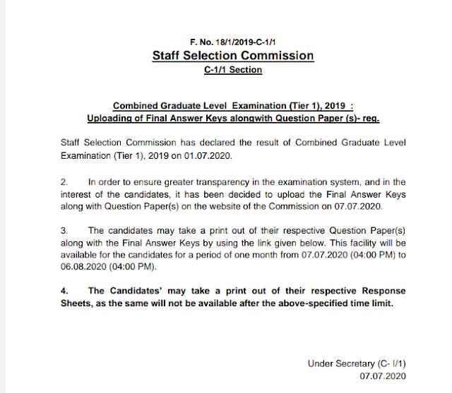 Combined Graduate Level Examination (Tier 1), : Uploading of Final Answer Keys