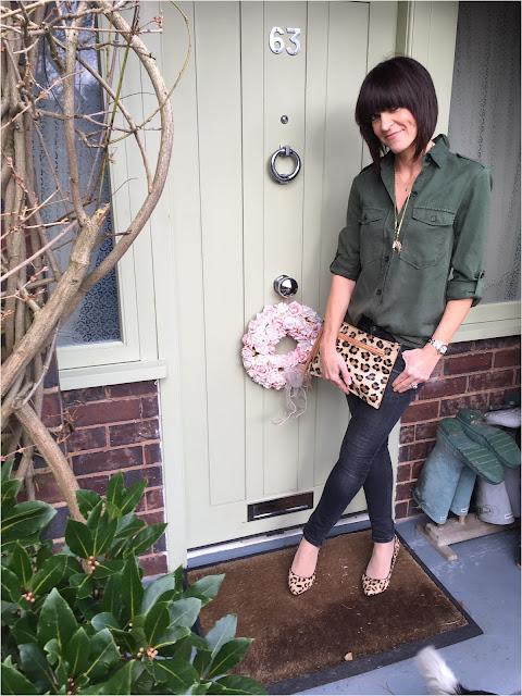My Midlife Fashion, Zara Military Style Shirt, skinny zip denim jeans, leopard print clutch, Village England, Leopard print court shoes, Next