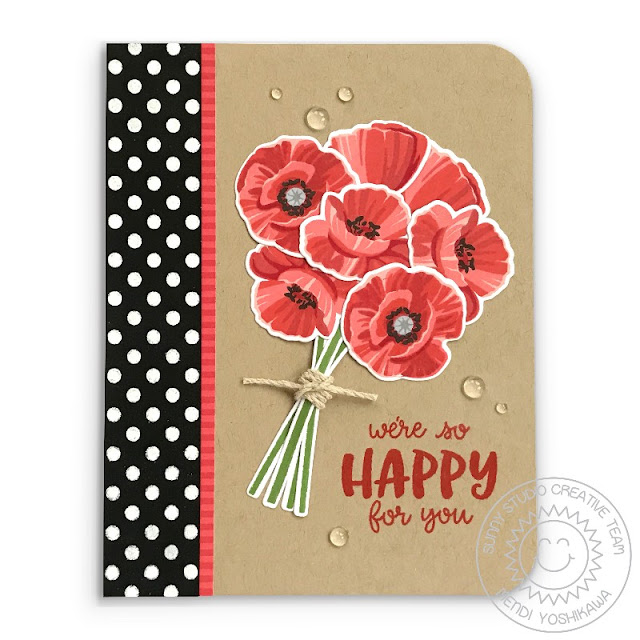 """Sunny Studio: """"We're so happy for you"""" Poppies Bouquet Polka-dot Card (using Poppy Fields, Background Basics & Happy Thought Stamps, Striped Silly Paper)"""