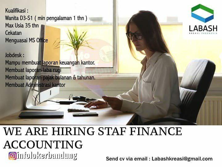 Lowongan Kerja Staf Finance Accounting PT Labash Kreasi Indonesia Bandung Agustus 2019