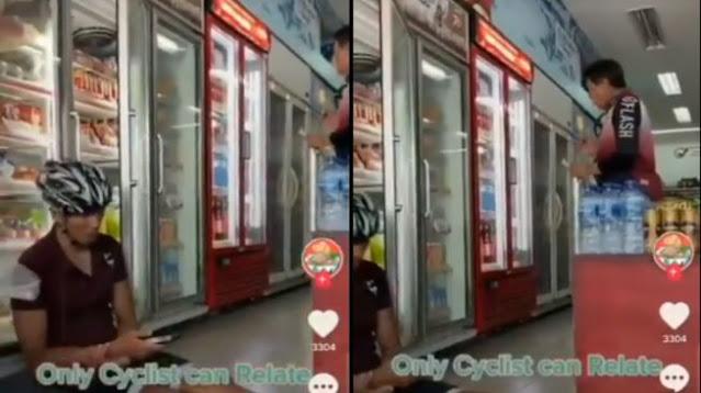 Viral Video Pesepeda Ngadem di Minimarket, Aksinya Banjir Kritik Warganet