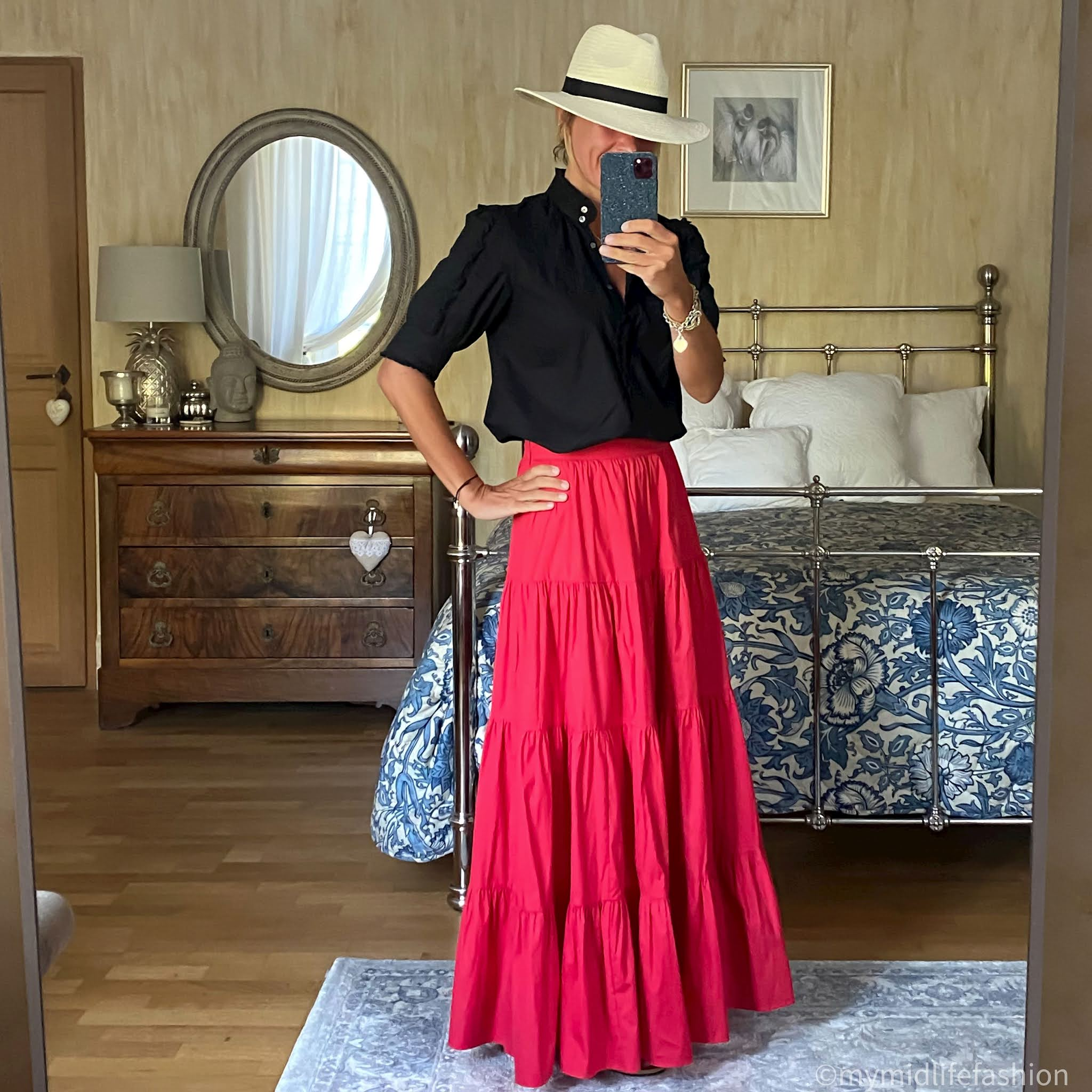 my midlife fashion, zara Panama hat, j crew ruffle blouse, mango tiered maxi skirt, havaianas slim fit gold metallic flip flops