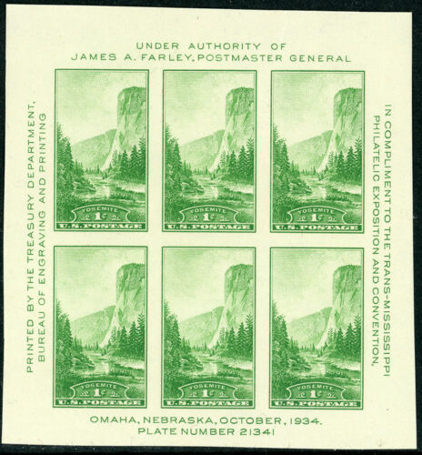 Yosemite 1¢ (1935) Farley Souvenir Sheet of 6