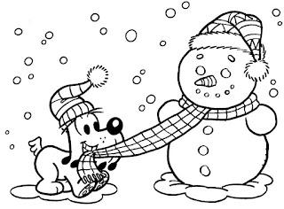 דף צביעה כלב משחק עם איש שלג