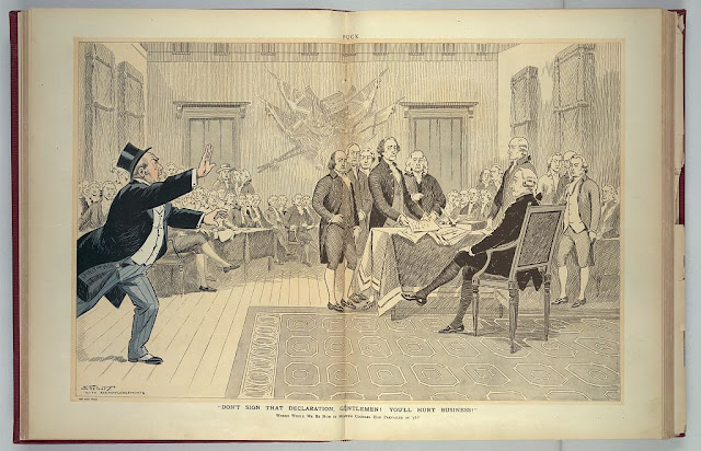 Don't Sign That Declaration, Gentlemen! You'll Hurt Business! by Samuel D. Ehrhart, after John Trumbull's The Declaration of Independence, from Puck (March 4, 1908)