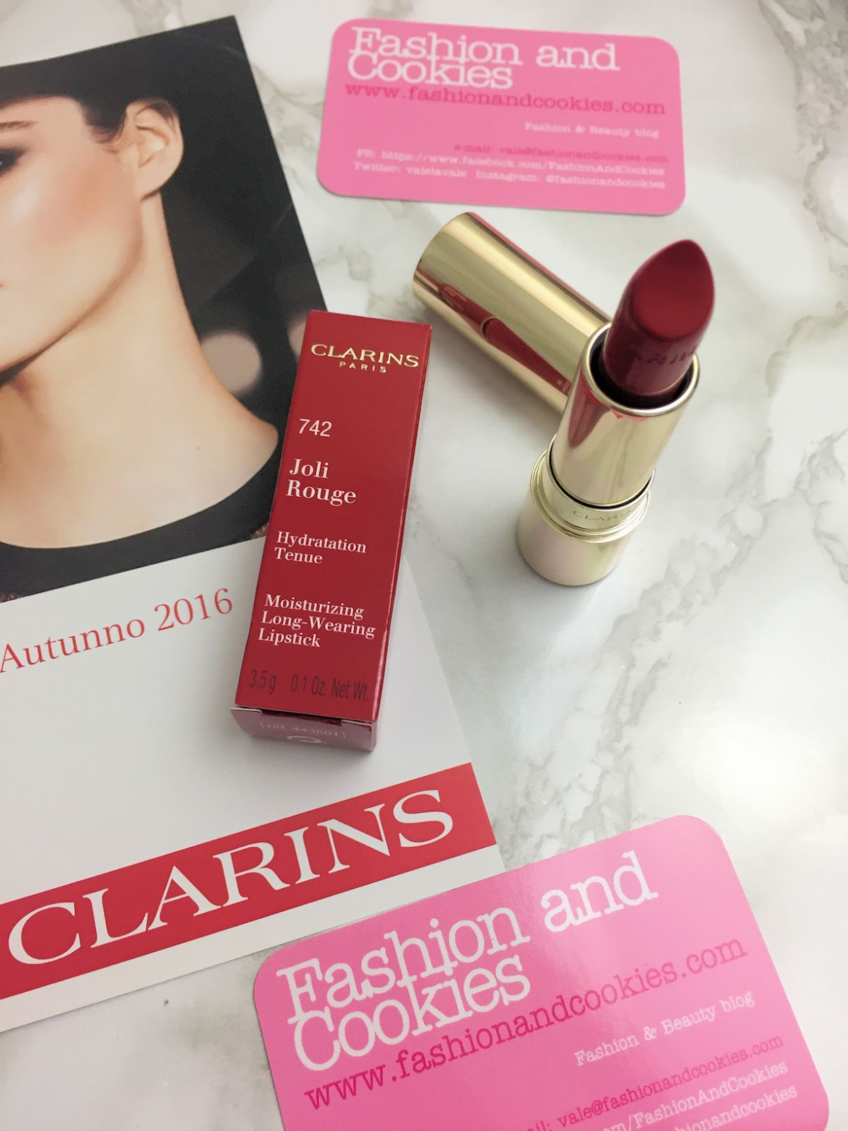 Clarins Joli Rouge lipstick on Fashion and Cookies beauty blog, beauty blogger