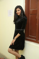 Mounika in a velvet short black dress for Tick Tack Movie Press Meet March 2017 031.JPG