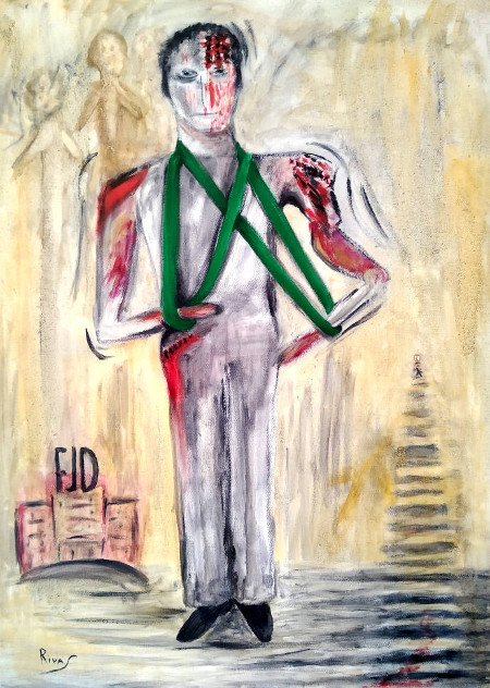 """Cuadro """"Múltiples Heridas de Vicente Pes"""" pintado al óleo por Paqui Rivas."""