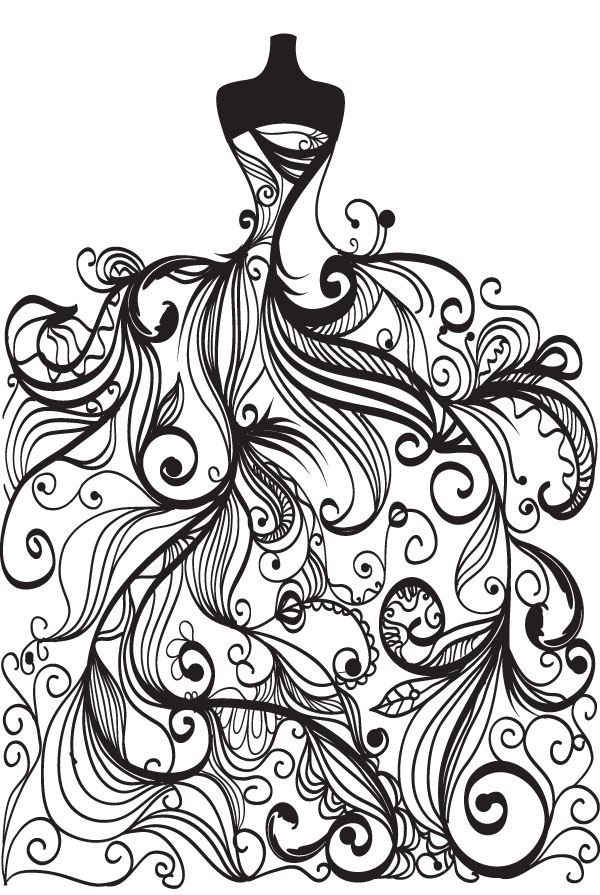 Abstract Wedding Pattern Bride And Groom Silhouette Vector