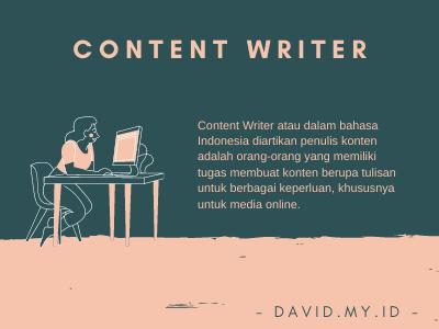 Pengertian Content WRiter adalah
