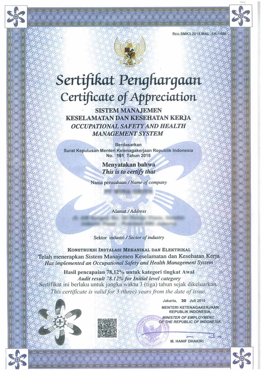 Contoh sertifikat SMK3