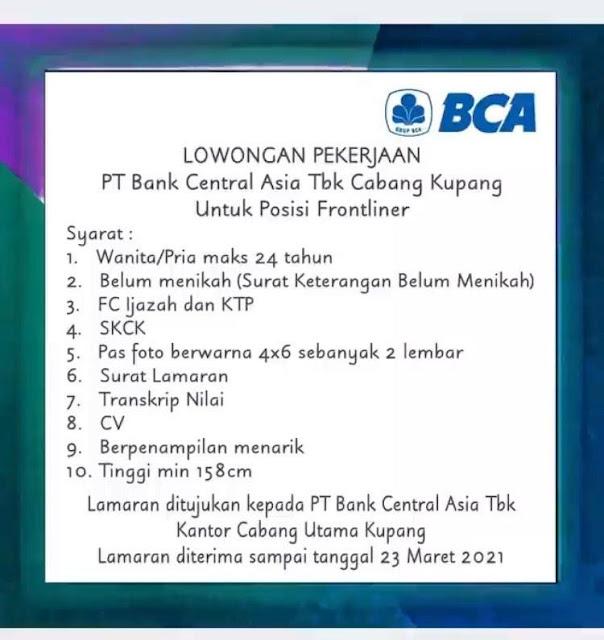 Lowongan Kerja BCA Cabang Kupang Sebagai Frontliner
