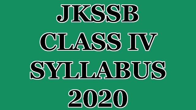 JKSSB CLASS IV SYLLABUS 2020